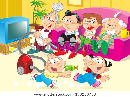 The illustration shows the recreation of the family with parents and children. The family is in the room where the children play, adults watching TV on the couch and relax.  - stock vector