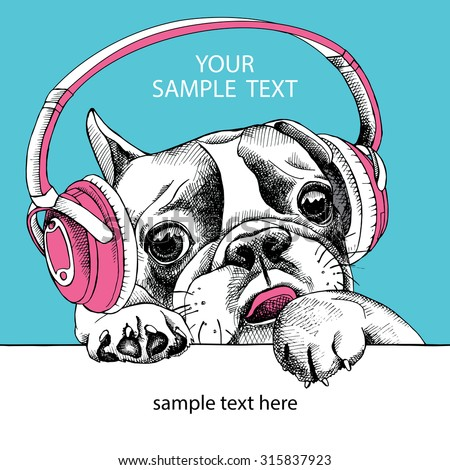 The Image of dog portrait of French bulldog with headphones. Vector illustration. - stock vector