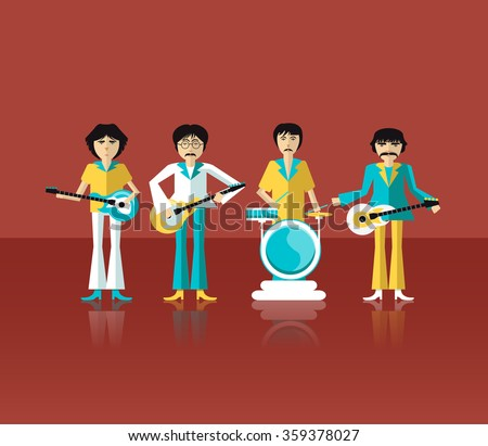 The image of rock musician, guitarist, singer, performer. Flat design. Illustration. Image. Icon. Vector. - stock vector