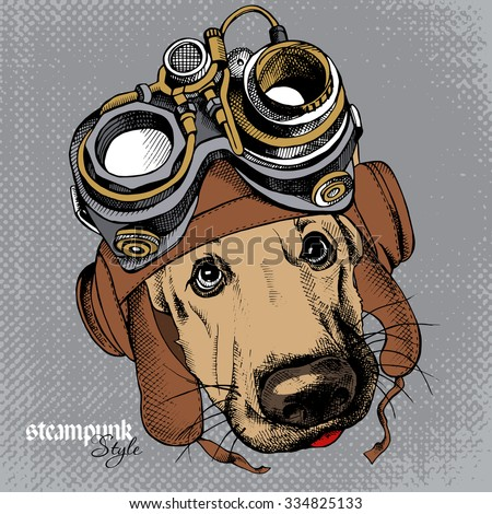 The image of the dog German Shepherd portrait in the Steampunk helmet. Vector illustration. - stock vector