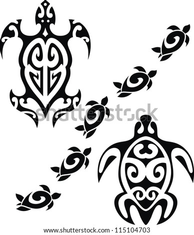 The image of the stylized turtles in the form of a tattoo - stock vector