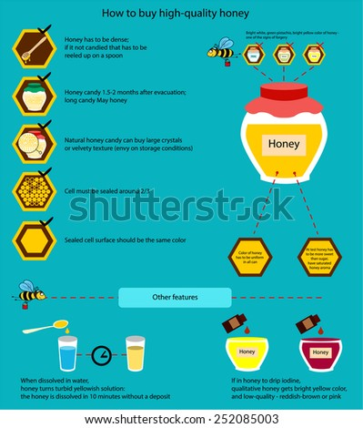 The information poster containing information on that how to buy qualitative honey. How to distinguish qualitative honey from a fake. - stock vector