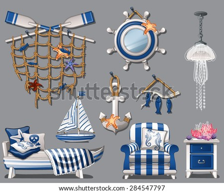 the interior of the room in a nautical theme - stock vector