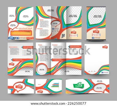 The International School Stationery Set Template  - stock vector