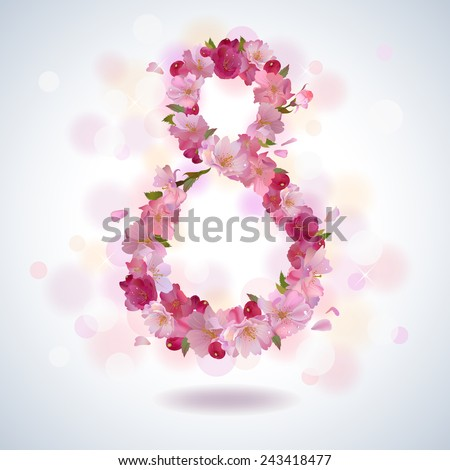 The international women's day on March, 8th greeting background with cherry petal number 8 - stock vector