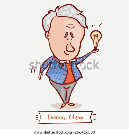 The inventor Thomas Edison with a bulb  in a blue jacket. - stock vector