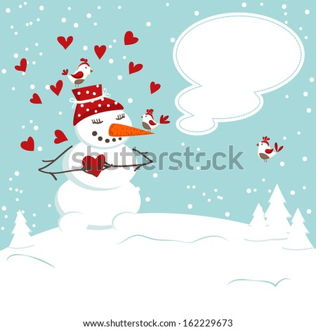 the invitation card with a snowman . - stock vector