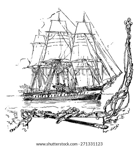 The Iphigenie, vintage engraved illustration. Journal des Voyage, Travel Journal, (1880-81). - stock vector