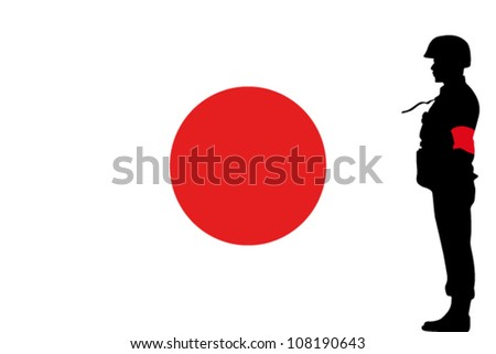The Japanese flag and the silhouette of a soldier with Red Arm Band - stock vector