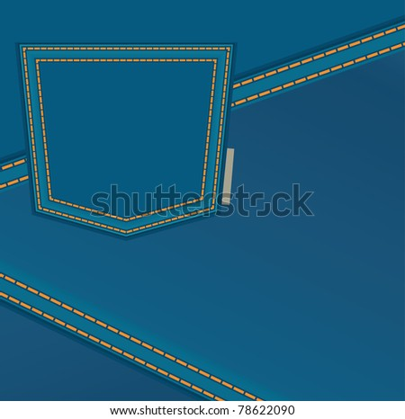 The jeans background with back pocket - stock vector