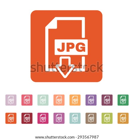 The JPG icon. File format symbol. Flat Vector illustration. Button Set - stock vector