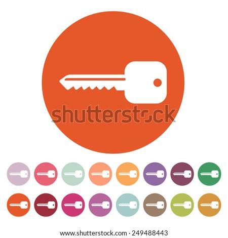 The key icon. Key symbol. Flat Vector illustration. Button Set - stock vector