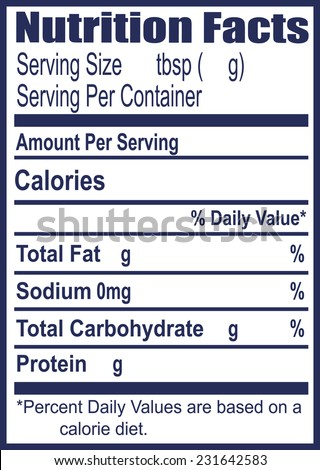 The label for information on nutritional value. Vector illustration. - stock vector