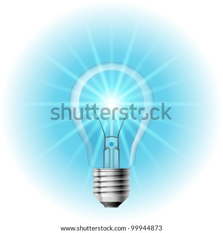 The lamp with the blue light. Illustration on white background for design - stock vector
