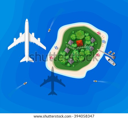 The landscape for recreation. Top view of the island paradise of rest View from helicopter seascapes. Paradise isle for vacation. Maritime hotel for rest. Travel & Leisure. Marine map with cities. - stock vector