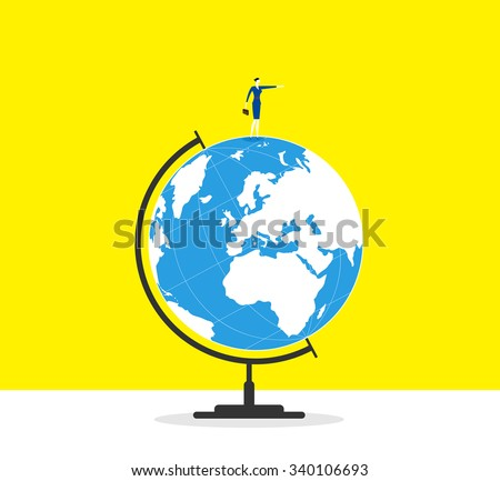 The leader- A business woman stands on a globe and guide forward. - stock vector