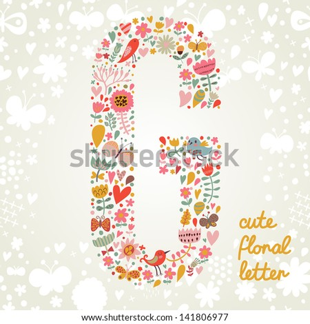 The letter G. Bright floral element of colorful alphabet made ??from birds, flowers, petals, hearts and twigs. Summer floral ABC element in vector - stock vector