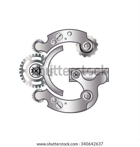 """The letter """"G"""" with gears, spare parts, bolts, screws, clockwork. Mechanical design. Metal iron and gradient. - stock vector"""