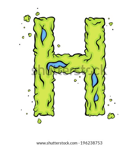 h alphabet in style  The letter H. Bright green