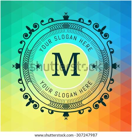 The letter M & colored triangular texture. Flourishes calligraphic monogram emblem template. Luxury elegant frame ornament line logo design vector illustration. Example designs for Cafe, Hotel - stock vector