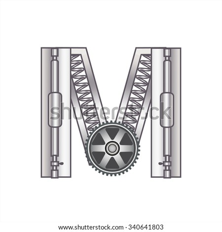 """The letter """"M"""" with gears, spare parts, bolts, screws, clockwork. Mechanical design. Metal iron and gradient. - stock vector"""