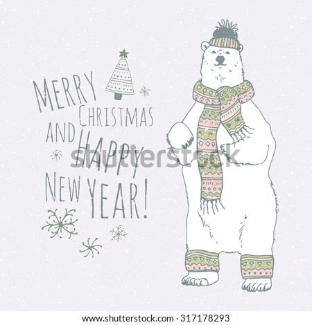 The lettering - MERRY CHRISTMAS AND HAPPY NEW YEAR.  Hand drawn polar bear and stars. Winter postcard. - stock vector