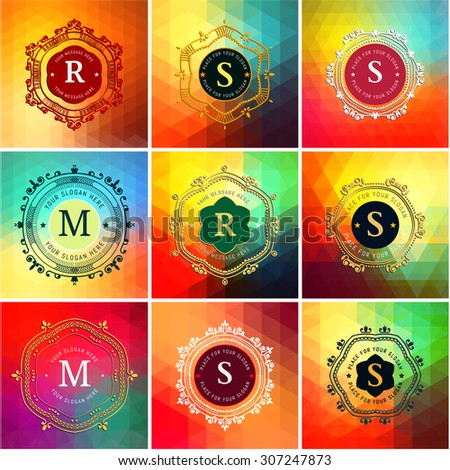 The letters S, M, R & colored triangular textures. Flourishes calligraphic monogram emblem template. Luxury elegant frame ornament line logo design vector illustration. Example designs for Cafe, Hotel - stock vector