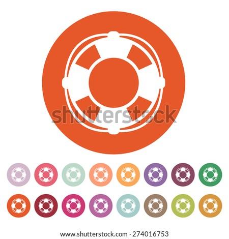 The lifebuoy icon. Lifebelt symbol. Flat Vector illustration. Button Set - stock vector