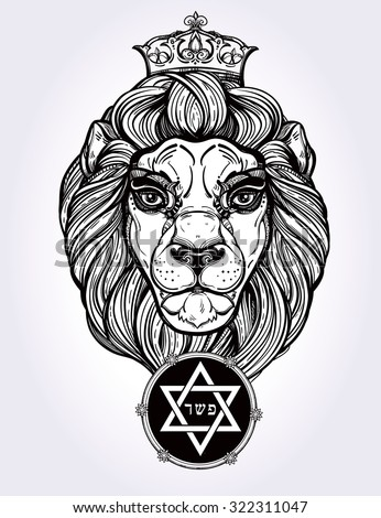 """The lion of Judah head, Rastafarian symbol - with star of Judah sign of faith and word """"holy"""" in  Hebrew. Artwork in vintage linear style. Isolated vector illustration - stock vector"""