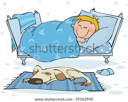 The little boy sleeps in the bed - stock vector