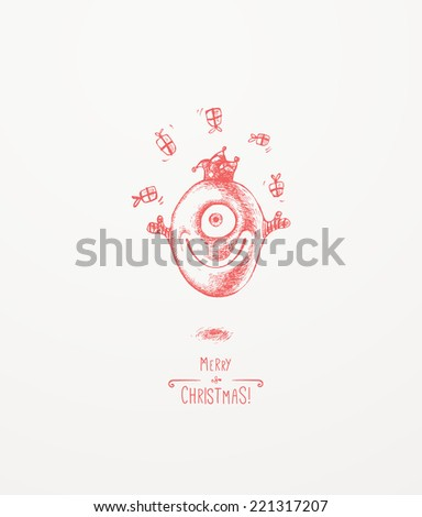 The little Christmas monster. Christmas greeting card - stock vector