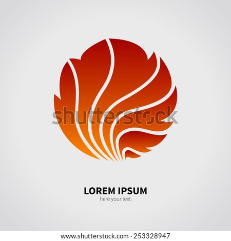 The logo of the fire and the flames. A red object isolated on a gray background. The element of fire. - stock vector