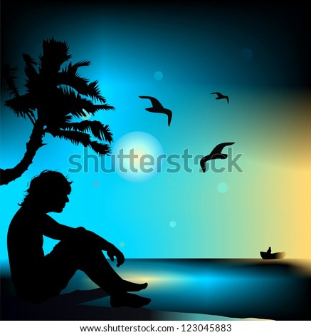 The lonely guy on a beach - stock vector