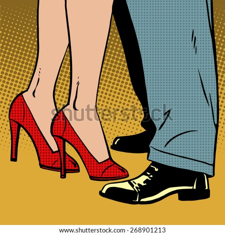 The love of a man and a woman dance hugs pop art comics retro style Halftone. Imitation of old illustrations. Bubble for text - stock vector