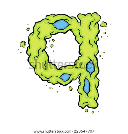 The lowercase letter Q. Bright green element stylish alphabet style zombies. Halloween ABC grimy element in the vector. Hand drawn letter Q isolated on white background.  - stock vector