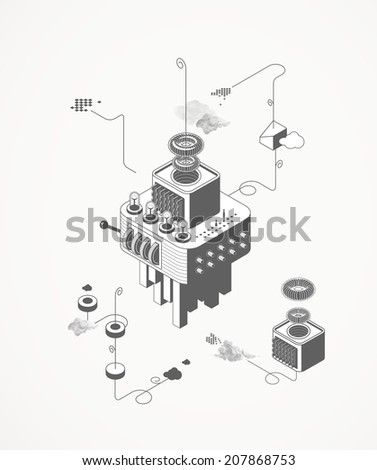 The machine house - stock vector