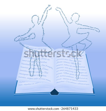 The magic of reading. Ballerinas depart from the pages of the book. - stock vector