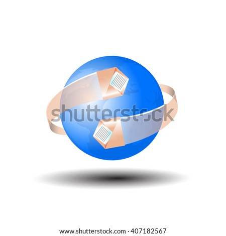 the mail icon in 3d, on a white background - stock vector