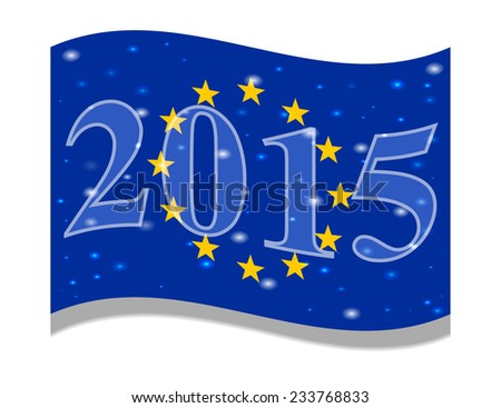 The main flag of the New Year 2015 New Year flag of the country. Festive flag. Christmas. Vector. Icon. Flag of the European Union, EU Happy Holidays - stock vector