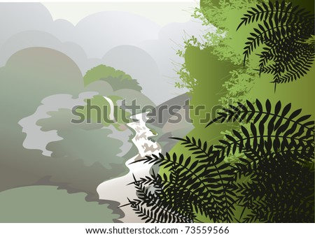 The majestic view to the jungle in the mist from the mountains - stock vector