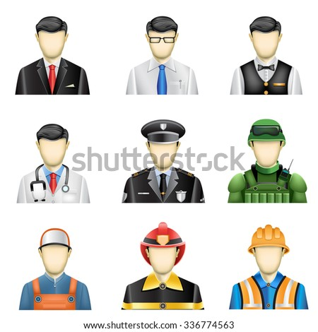 The male job icons set isolated on the white background - stock vector