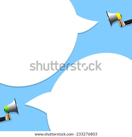 The man announced through a megaphone or advertising information. - stock vector