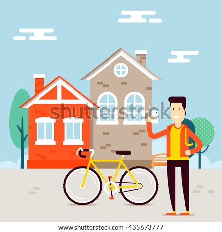 The man character taking selfie near his bike and sharing successful results with friends in social network concept. Vector flat illustration. Very easy to edit - stock vector