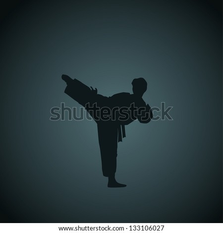 The man engaged in the karate on dark a blue background. - stock vector