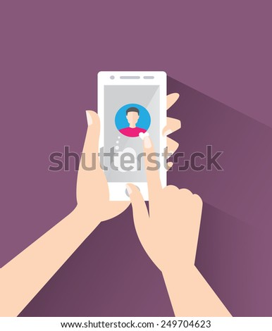The man holding the smartphone puts a heart on avatar. Internet communication. Vector illustration style flat design - stock vector