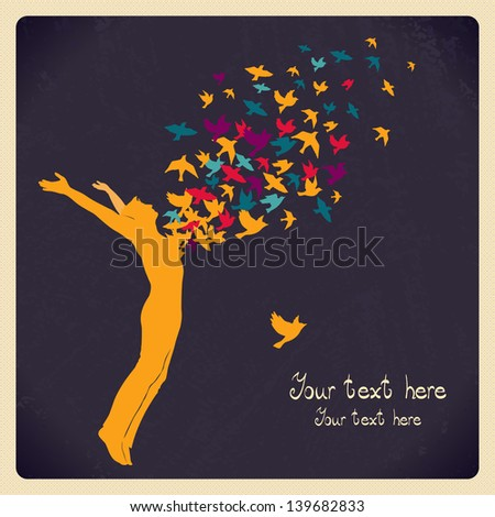 The man jumping with swarm of birds. - stock vector