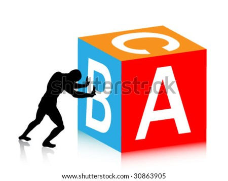 the man push a cube with abc - stock vector