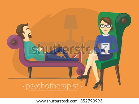 The man tells the therapist about problems - stock vector