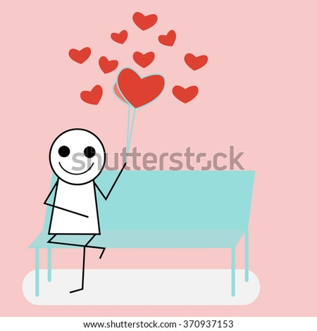The man  waiting for love ,valentine card concept - stock vector