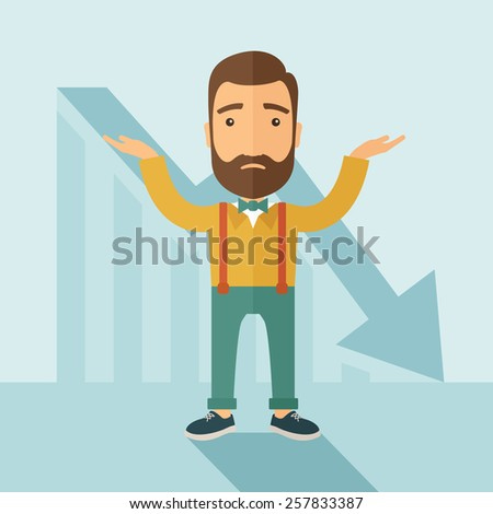 The man with a beard with falling down chart is confused. Bankruptcy concept. Vector flat design illustration. - stock vector